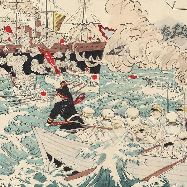 Naval Battle during the Sino-Japanese War, 1894 by Meiji era artist (not read)
