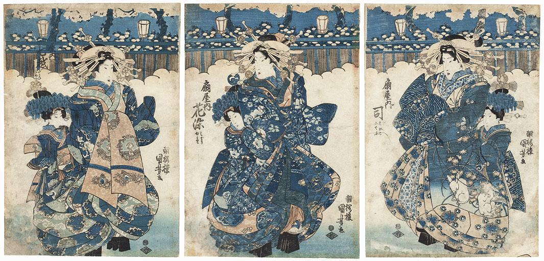 Courtesans and Kamuro by Kuniyoshi (1797 - 1861)