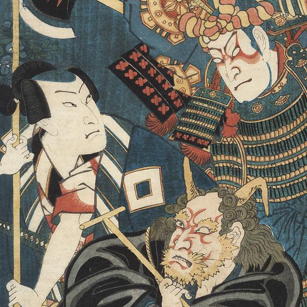 Kabuki Actors as Otsu-e by Kunichika (1835 - 1900)