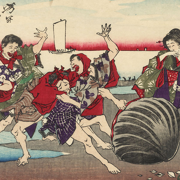 A Giant Clam Grabs a Finger of a Shell Gatherer at Susaki; A Boat Prostitute Begins Business at Teppozu, 1881 by Yoshitoshi (1839 - 1892)