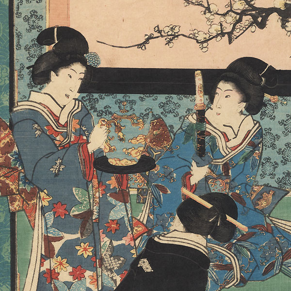 Practicing Flower Arrangement on New Year's Morning, 1847 - 1852 by Toyokuni III/Kunisada (1786 - 1864)