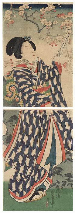 Beauty with a Poem Slip Kakemono by Kuniyoshi (1797 - 1861)