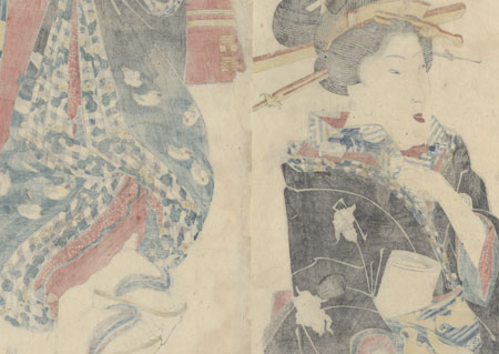 Beauty with a Bat Obi Kakemono by Eisen (1790 - 1848)