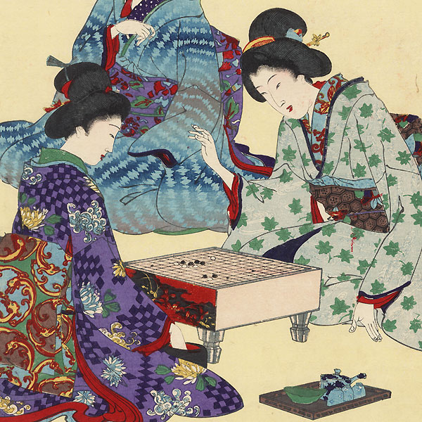 Tea Ceremony and Playing Go by Chikanobu (1838 - 1912)