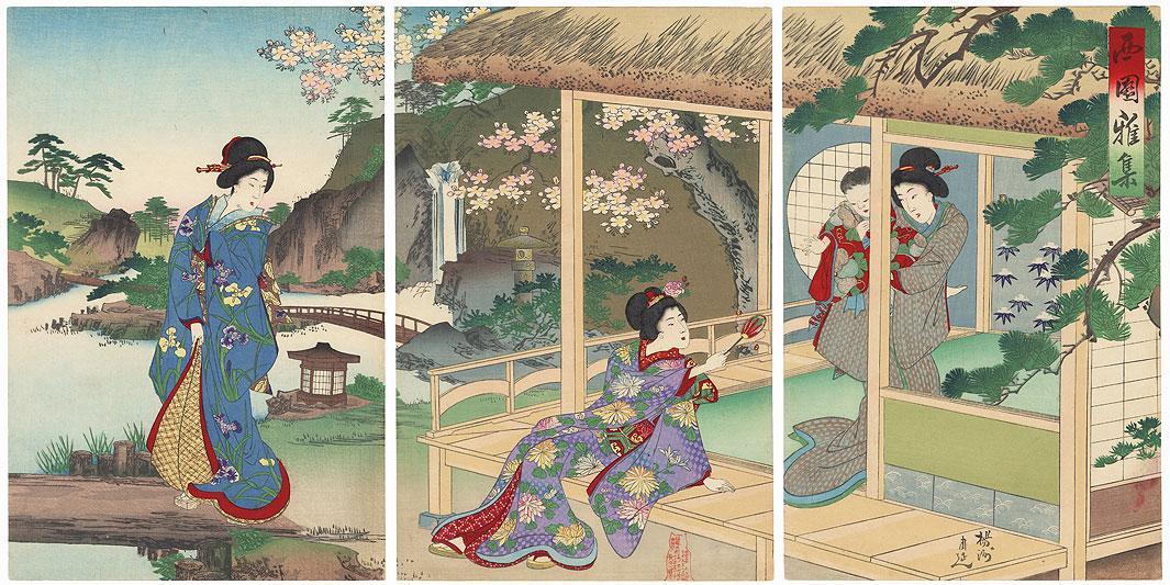 Elegant Gathering int the West Garden by Chikanobu (1838 - 1912)