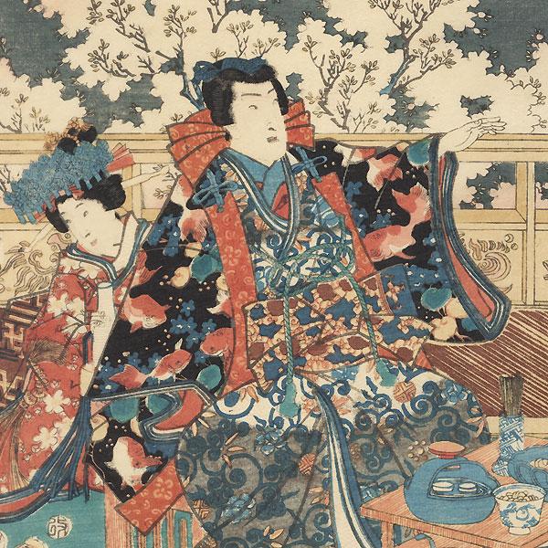 Pleasure/Music (Raku), 1854 by Toyokuni III/Kunisada (1786 - 1864)