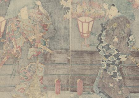 Nagoya Sanza and Fuwa Banzaemon Meeting in the Yoshiwara, 1855 by Toyokuni III/Kunisada (1786 - 1864)