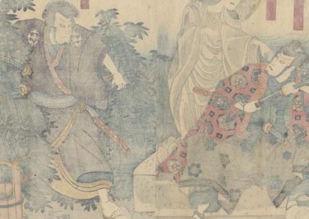 Samurai and Ghostly Statue, 1850 by Kuniyoshi (1797 - 1861)