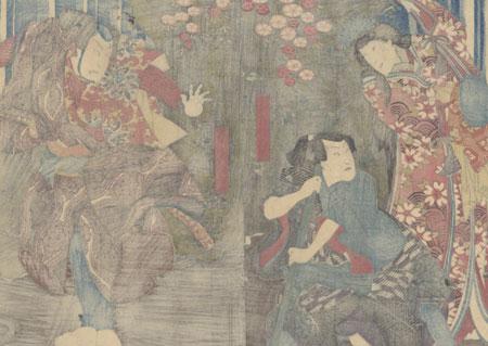 Oguri Hangan at Kumano Gongen Waterfall, 1851 by Toyokuni III/Kunisada (1786 - 1864)