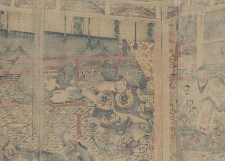 Minamoto no Yorimitsu on Mt. Oe, 1858 by Yoshikazu (active circa 1850 - 1870)