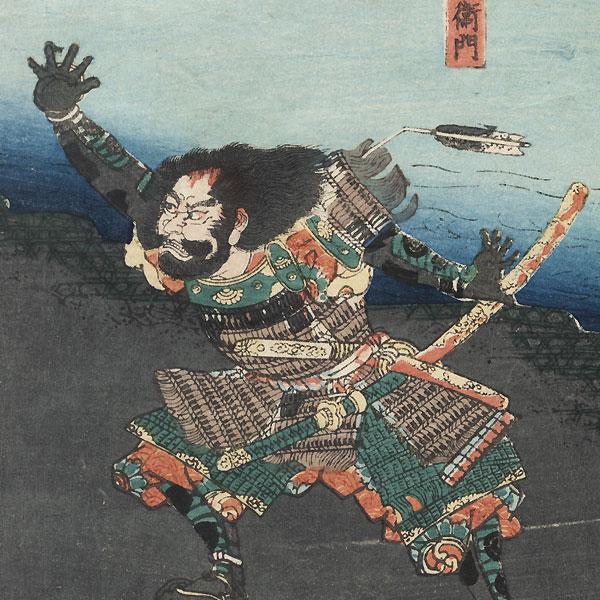 Ando Kiemon Entering the Enemy's Camp, 1848 by Yoshikazu (active circa 1850 - 1870)