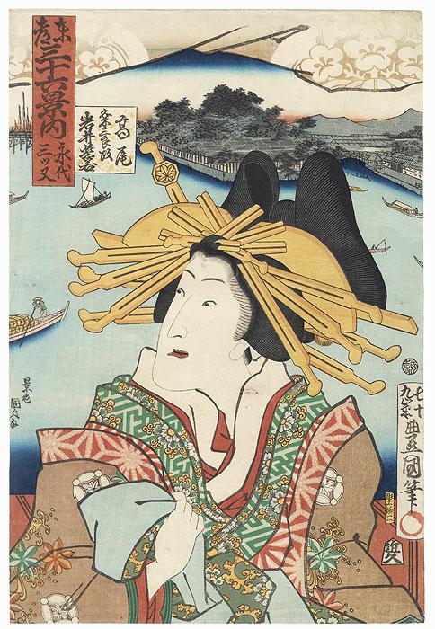 Eitai mitsumata: Iwai Shijaku II as Takao, 1863 by Toyokuni III/Kunisada (1786 - 1864)