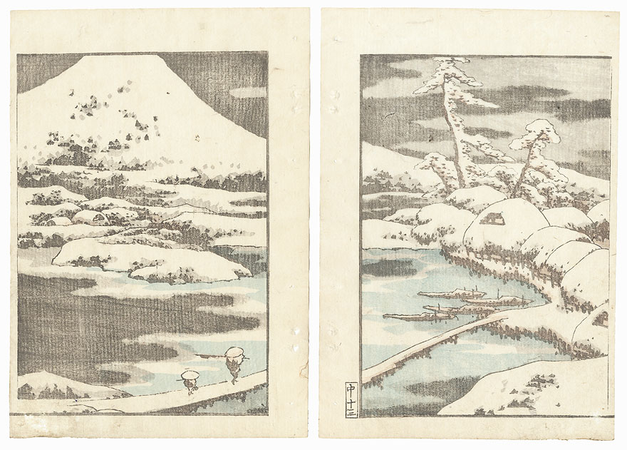 Heavy Snow and Mt. Fuji by Hokusai (1760 - 1849)
