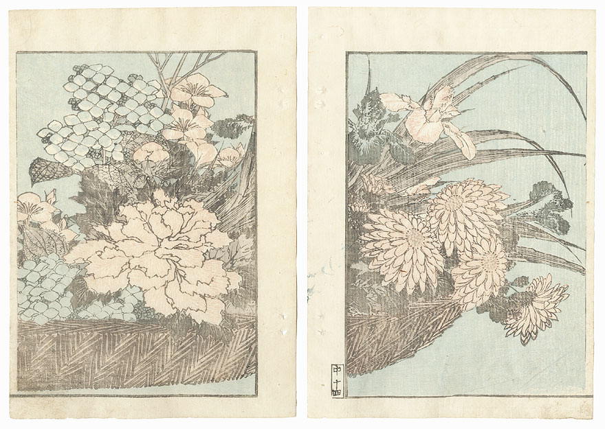 Basket of Flowers by Hokusai (1760 - 1849)