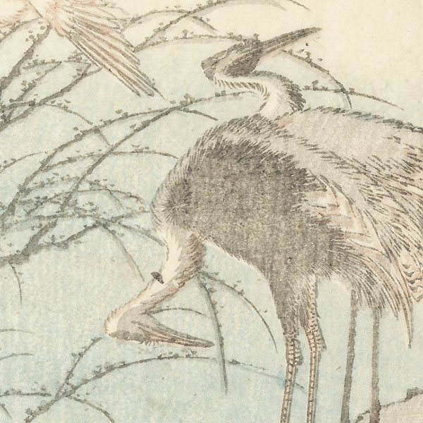 Herons and Sparrows by Hokusai (1760 - 1849)