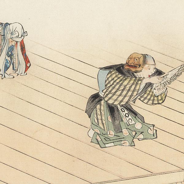 Kyogen: Oba ga sake (Auntie's Sake) by Tsukioka Kogyo (1869 - 1927)