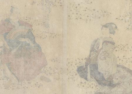Nakamura Utaemon IV as Sanza's wife Kazuraki and Nakamura Tamasuke I as Monogusa Taro, 1835 by Sadanobu I (1809 - 1879)