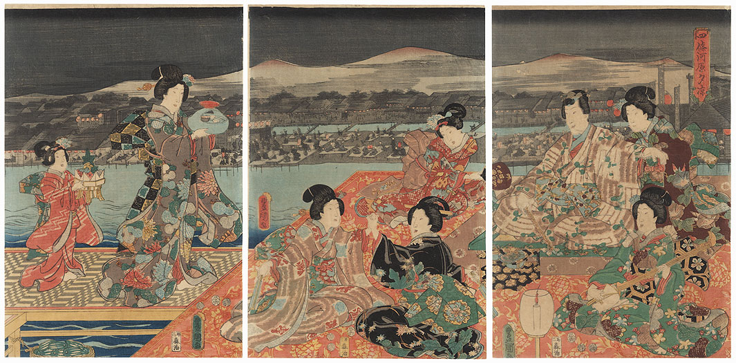 Enjoying the Cool of the Evening at the Shijo Riverbed, 1852 by Toyokuni III/Kunisada (1786 - 1864)