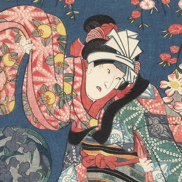 Beauty Waving Her Sleeves, 1852 by Toyokuni III/Kunisada (1786 - 1864)