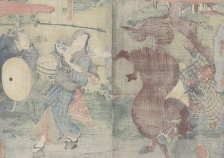 The Strong Woman Okane of Omi Province, 1856 by Kunisada II (1823 - 1880)