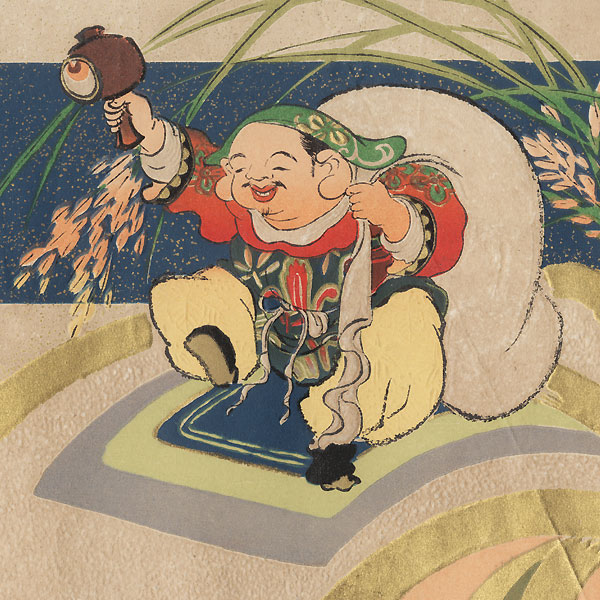 Daikoku and His Magic Mallet Advertising Blank by Meiji era artist (unsigned)