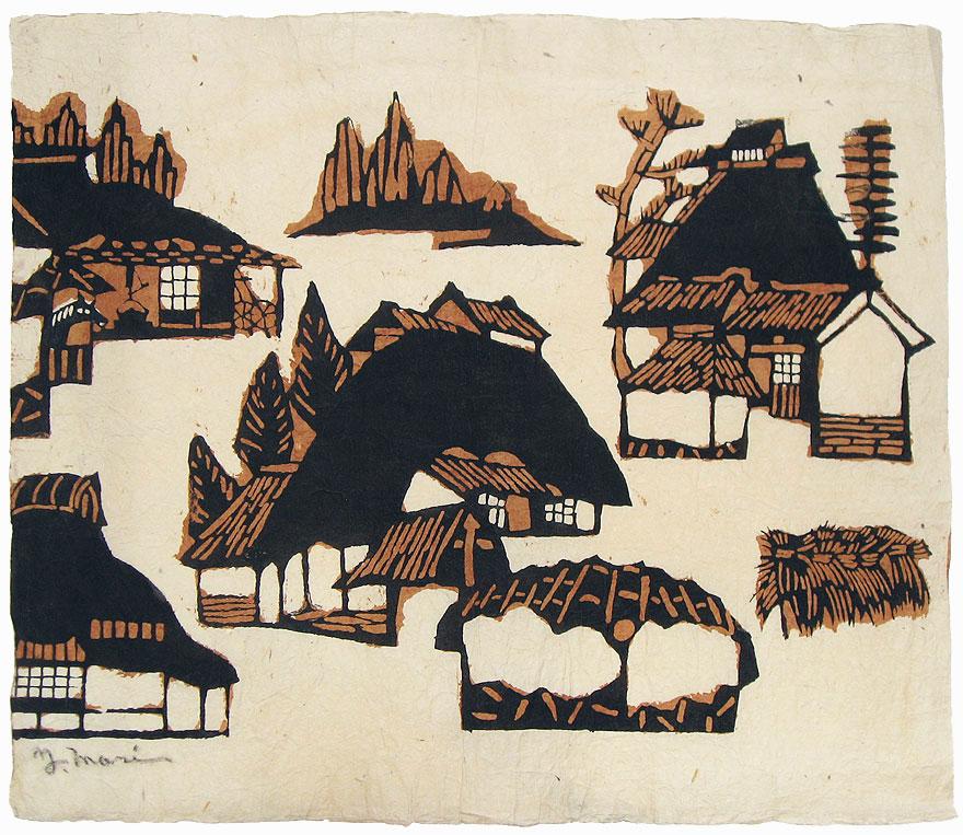 Houses (Brown), circa 1955 by Yoshitoshi Mori (1898 - 1992)