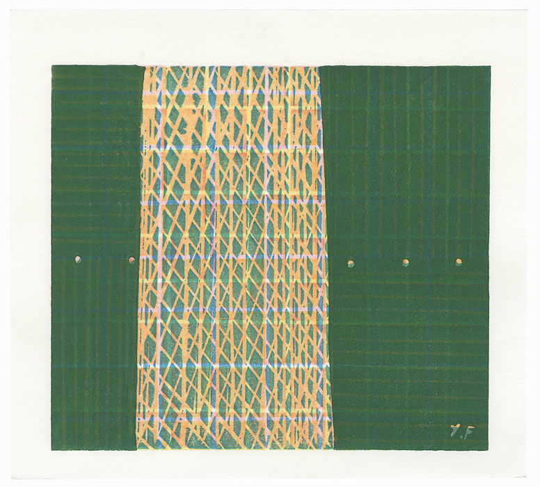 Abstract Design with Green and Peach by Yoshisuke Funasaka (born 1939)