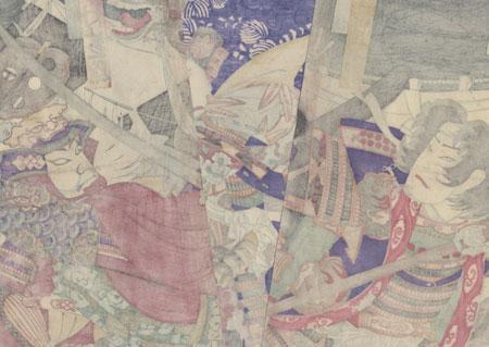 Duel between Uesugi Kenshin and Takeda Shingen by Chikanobu (1838 - 1912)