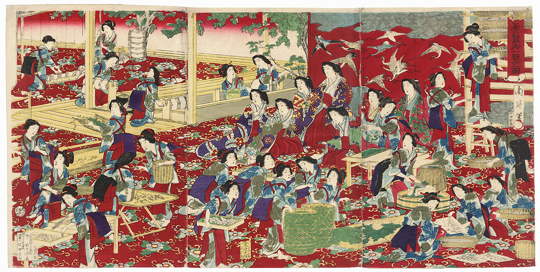 View of Sericulture, 1877 by Chikanobu (1838 - 1912)