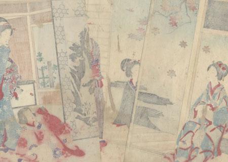Unrolling a Scroll, 1895 by Chikanobu (1838 - 1912)