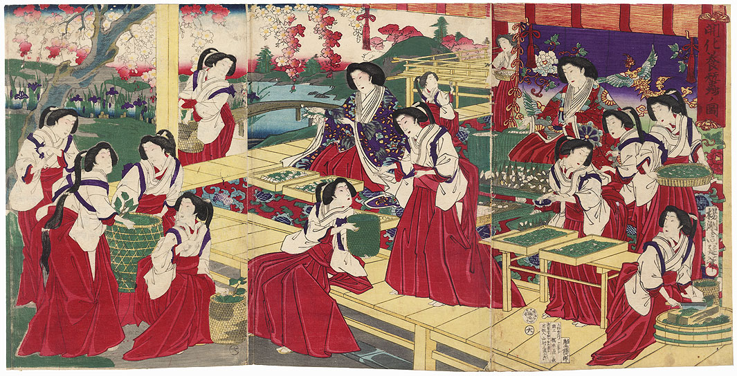 Illustration of Sericulture, 1879 by Chikanobu (1838 - 1912)