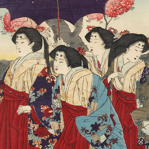 Sightseeing on the Sumida River, 1879 by Kunitoshi (1847 - 1899)