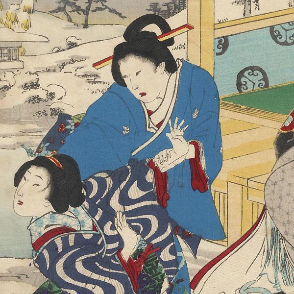 Sanshu, Snow at Okazaki, Disposing of Lady Tsukiyama, No. 44 by Chikanobu (1838 - 1912)