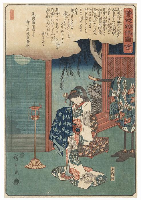 Tora Gozen Holding Soga Juro Sukenari's Kimono by Hiroshige (1797 - 1858)
