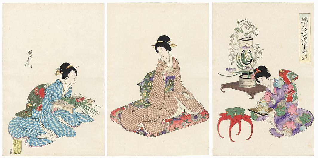 Flower Arranging, 1896 by Chikanobu (1838 - 1912)