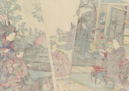 Arranging Flowers and Feeding Chickens, 1892 by Nobukazu (1874 - 1944)