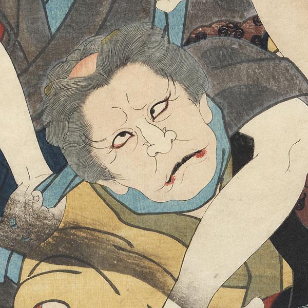 The Fifty-three Stations: The Crossroads at Kusatsu, 1854 by Toyokuni III/Kunisada (1786 - 1864)
