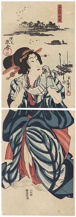 Minoya Koman Kakemono, 1867 by Kunisada II (1823 - 1880) and Kyosai (1831 - 1889)