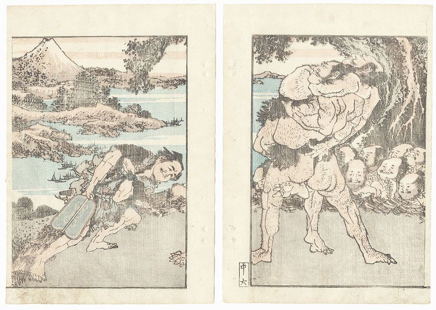 Men Wrestling by Hokusai (1760 - 1849)