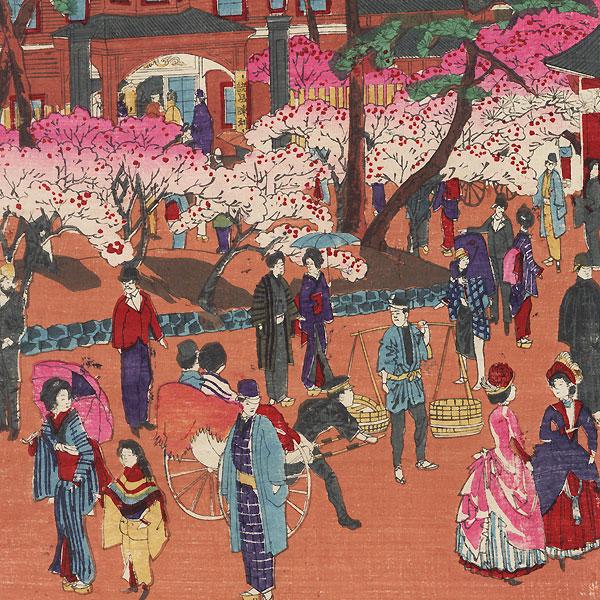 Visiting a Shrine, 1890 by Meiji era artist (not read)