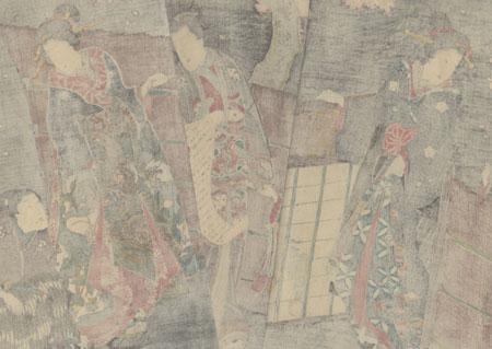 Genji Reading a Letter outside a Garden Gate, 1847 - 1852 by Toyokuni III/Kunisada (1786 - 1864)