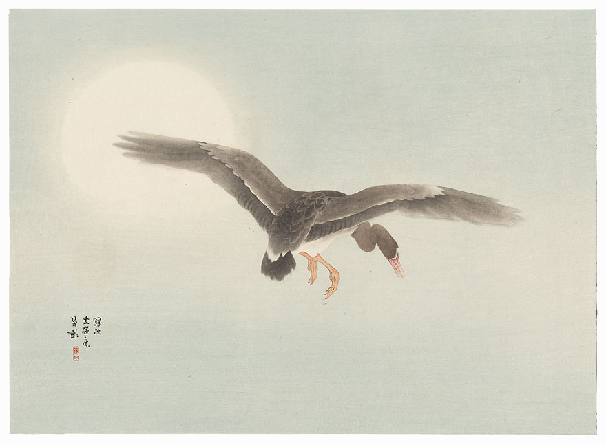 Descending Goose and Full Moon, 1921 by Tekiho Nishizawa (1889 - 1965)