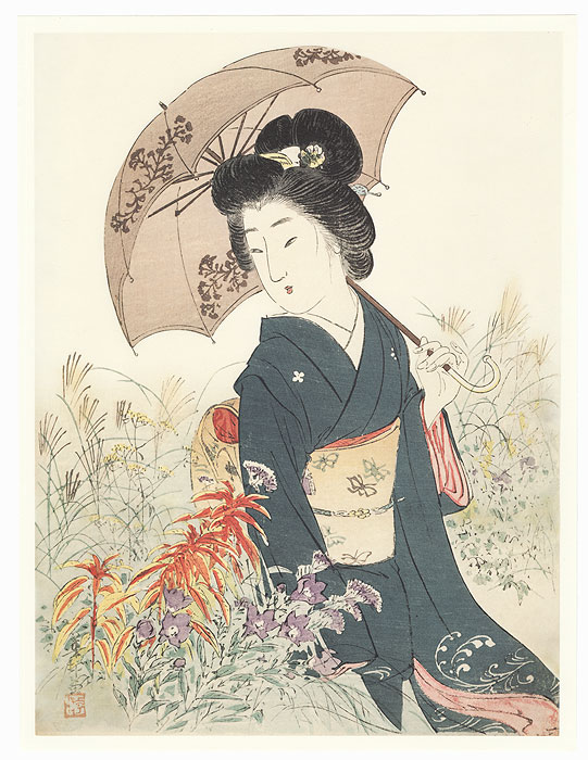 Strolling through a Garden Kuchi-e Print by Suzuki Kason (1860 - 1919)