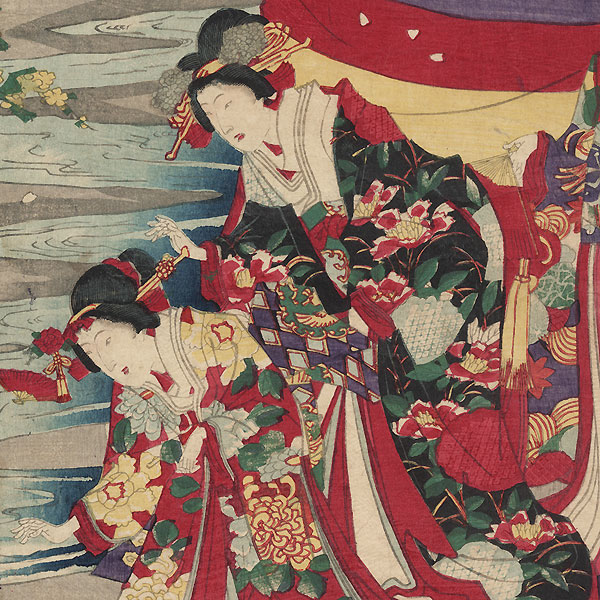 Floating Fans down a Stream, 1878 by Chikanobu (1838 - 1912)