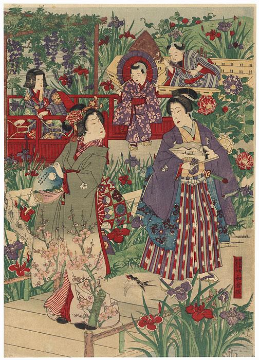 Visiting a Garden by Meiji era artist (unsigned)