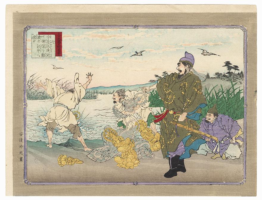 Mononobe no Moriya Throwing Buddhist Statues into a River by Ginko (active 1874 - 1897)