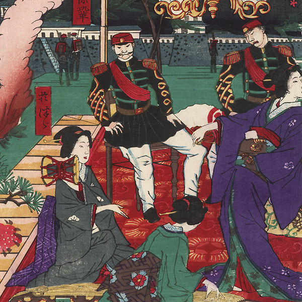 Rebel Army Commissioned Officers at Kumamoto Castle, 1877 by Kunisada III (1848 - 1920)