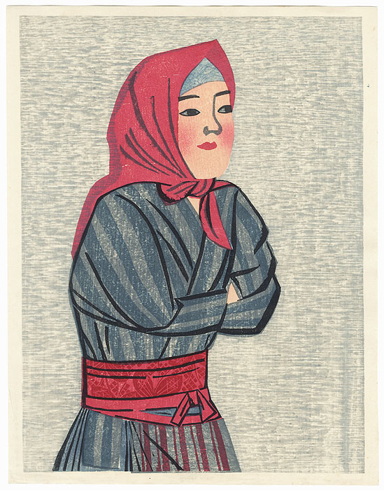 Woman with a Red Scarf by Maekawa Senpan (1888 - 1960)