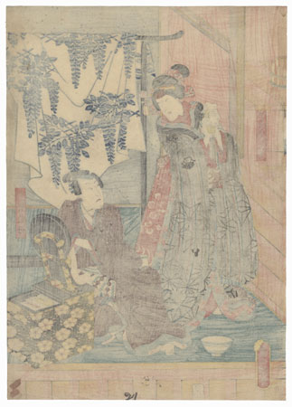 Bando Takesaburo I as Oguri Sotan and Iwai Kumesaburo III as Mancho's Daughter, Okoma, 1851 by Toyokuni III/Kunisada (1786 - 1864)