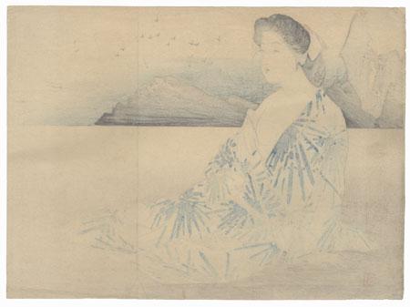Beauty and Seashore Kuchi-e Print by Kajita Hanko (1870 - 1917)
